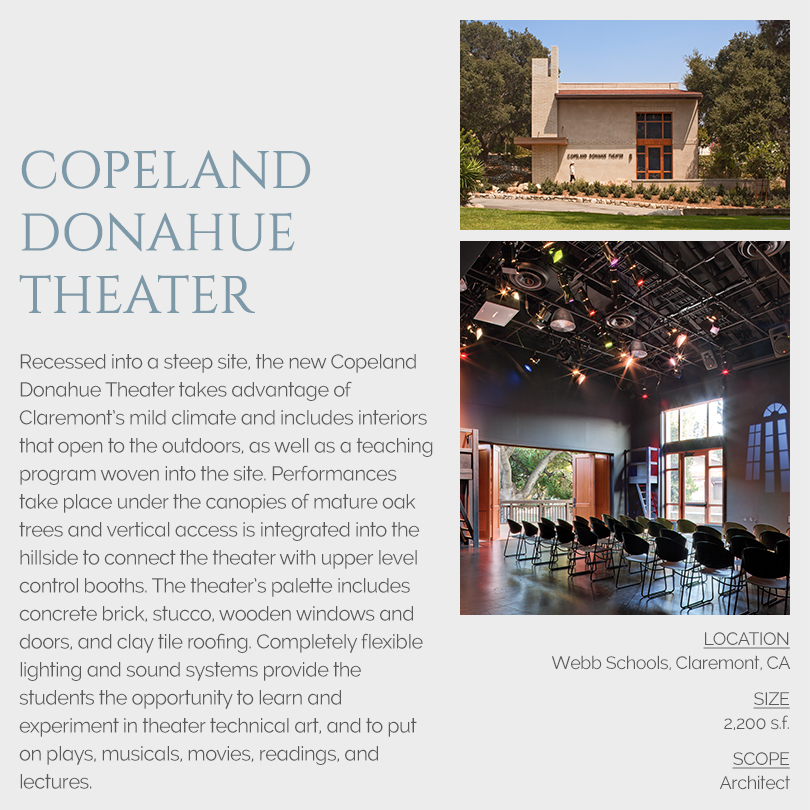 Copeland Donahue Theater architect, Webb School