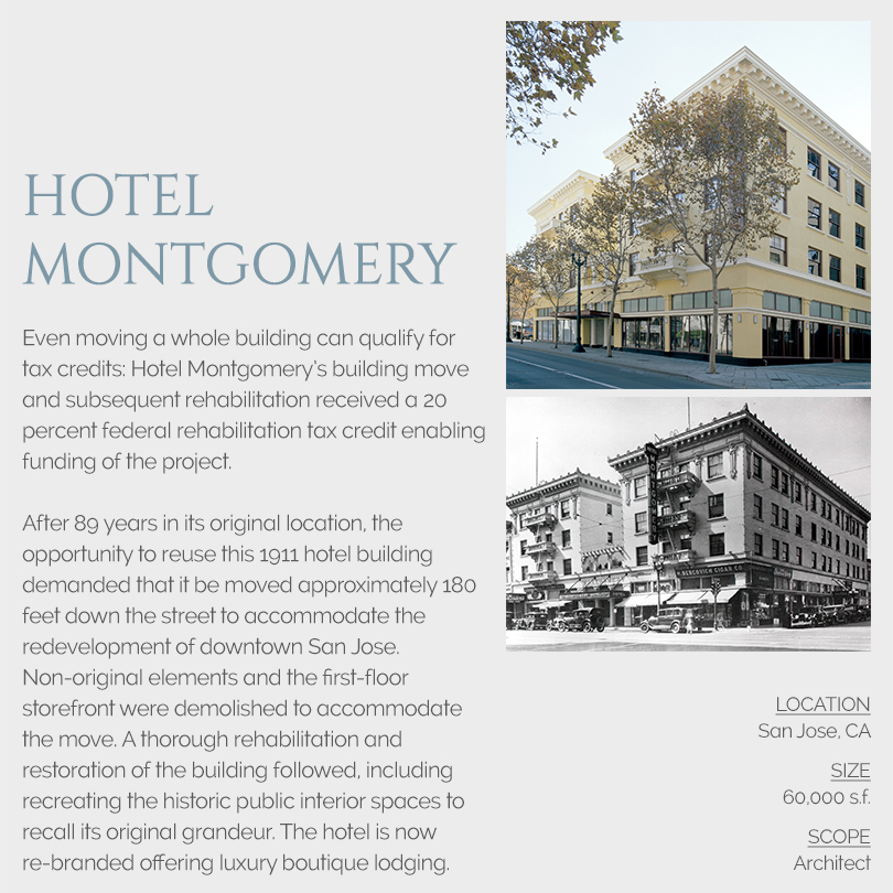 Hotel Montgomery building move and tax credits