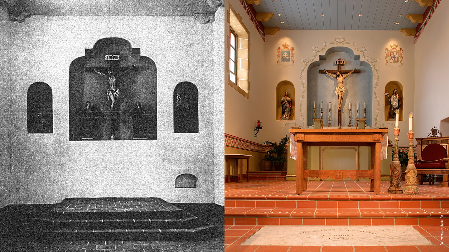 Royal Presidio Chapel before and after